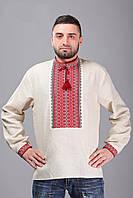 Мужская рубашка вышиванка, длинный рукав, красный орнамент