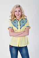 Красивая вышитая рубашка из желтого льна с синей отделкой гладью на рукавах и груди