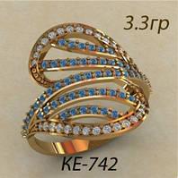 Модное женское золотое кольцо 585* с цветными фианитами