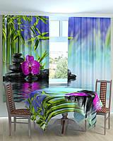 Фотошторы на кухню орхидея на камнях