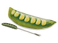 """Блюдо для закусок с вилочкой 16х6 см. """"Горох"""" фарфор, зеленый"""