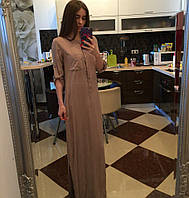 Платье рубашка длинная в пол в кофейном цвете