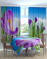 Скатерть,шторы с фото крокусы