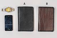 Кожаный кошелек ручной работы, черный классический кошелек