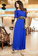 Синее шифоновое платье в пол, в комплекте чёрный пояс. Арт-5580/56