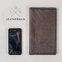 Кожаный кошелек ручной работы, кошелек мужской, черный классический кошелек