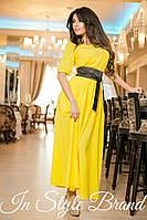 Жёлтое шифоновое платье в пол, в комплекте чёрный пояс. Арт-5580/56
