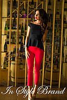 Стильный брючный костюм чёрная блуза+красные брюки. Арт-5581/56