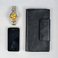 Кожаный кошелек ручной работы, черный классический кошелек, фото 1
