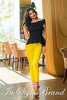 Стильный брючный костюм чёрная блуза+жёлтые брюки. Арт-5581/56