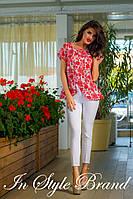 Летний брючный костюмчик блуза с орнаментом+белые брюки. Арт-5582/56