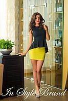 Модный юбочный костюм чёрная блуза+жёлтая юбка. Арт-5583/56