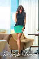 Модный юбочный костюм чёрная блуза+бирюзовая юбка. Арт-5583/56