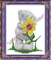 Схема для вышивания бисером Мишка с цветочком