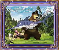 Схема для вышивания бисером Маша и медведь на рыбалке