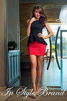 Модный юбочный костюм чёрная блуза+красная юбка. Арт-5583/56