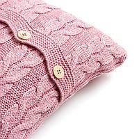 Наволочка декоративная Ohaina на пуговицах вязаная в косы 40х40  цвет розовая пудра, фото 1