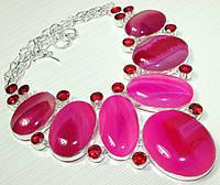 Колье, ожерелье из натуральных камней - АГАТ, КВАРЦ