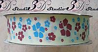 Лента репсовая декоративная слоновая кость с рисунком цветы шириной 2,5 см