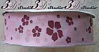 Лента репсовая декоративная розовая с рисунком цветы шириной 2,5 см