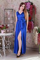 Эфэктное длинное платье цвет элэктрик