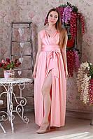 Милое платье в пол нежного персикового цвета