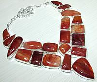 Колье, ожерелье из натуральных камней - СЕРДОЛИК, РУТИЛОВЫЙ КВАРЦ