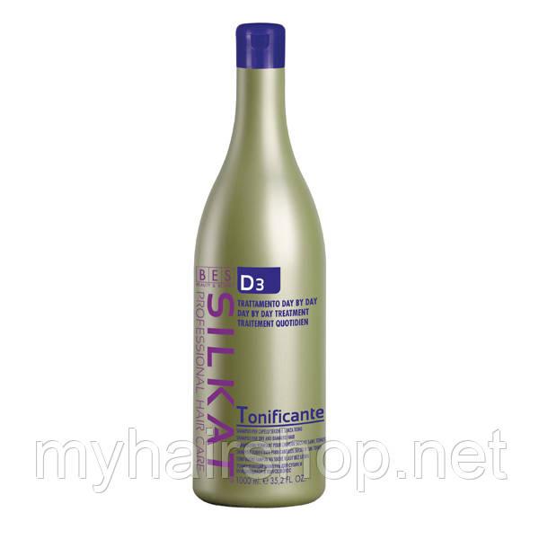 Шампунь тонизирующий с протеинами для всех типов волос BES SILKAT TONIFICANTE D3 1000 мл
