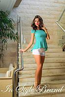 Летний молодёжный костюмчик бирюзовая блуза+белые шорты. Арт-5584/56