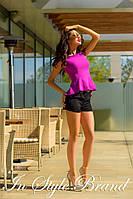 Летний молодёжный костюмчик фиолетовая блуза+чёрные шорты. Арт-5584/56