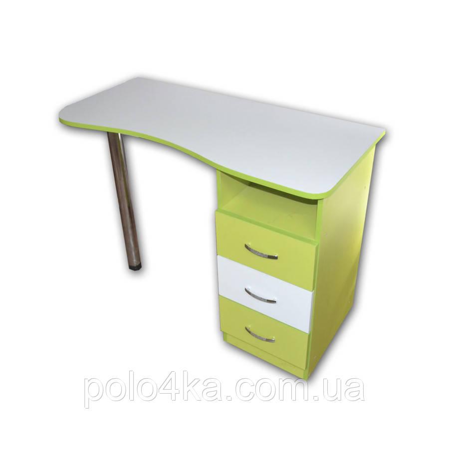 Стол ДСП белый/лайм маникюрный/компьютерный