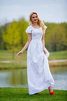 Нежное Белое Платье из Хлопка с Дорогой Вышивкой S-XL