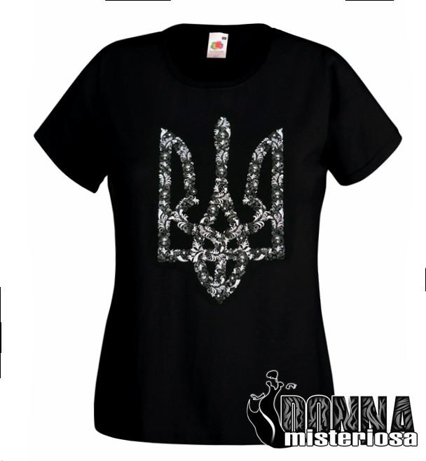 Футболка Тризуб чорно-білі квіти - Donna Misteriosa. Агрегатор виробників  України. Без самовивозу 8e6a6ff66d10b