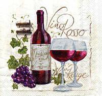 """Салфетка для декупажа """"Вино, бокалы, виноград"""", размер 25*25 см, трехслойная"""