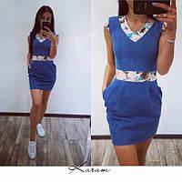 Джинсовое платье с цветными вставками