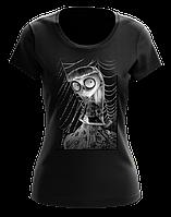 """Стильная футболка черного цвета с принтом """"Странная девочка"""""""