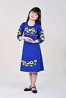 Красивое трикотажное платье для девочек ярко-синего цвета с вышитыми цветами
