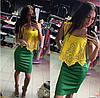 Шикарное комбинированное платье с перфорацией, фото 3