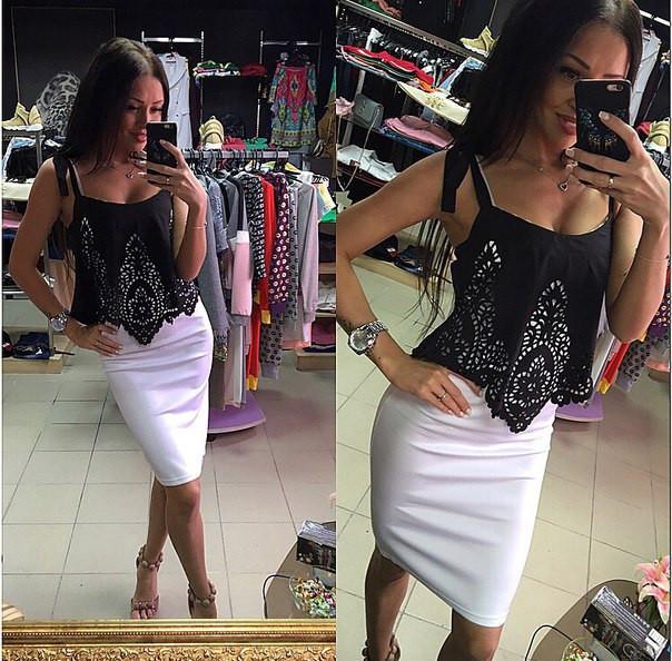 Шикарное комбинированное платье с перфорацией