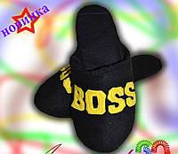 Мужские тапочки Boss Босс / домашние мужские черные тапочки, флисовые (есть разные цвета) 22/23