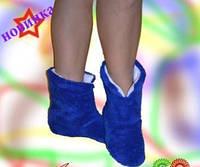 Женские махровые тапочки синие, теплые / оригинальные домашние тапочки высокие, синего цвета