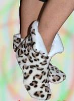 Женские тапочки сапожки леопардовые / высокие комнатные тапочки, леопард
