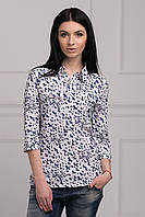 Повседневная блуза прямого кроя рукав 3/4 с красивым принтом