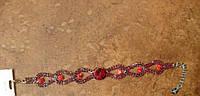 Браслет цепочка с красными кристаллами