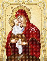 """Схема для вышивки бисером на атласе икона """"Богородица Почаевская"""" (золото)"""