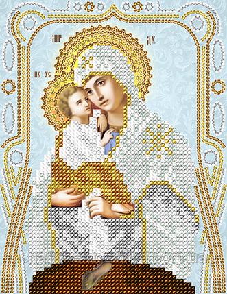 """Схема для вышивки бисером на атласе икона """"Богородица Почаевская"""" (серебро), фото 2"""