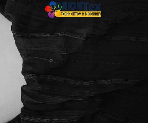 Шифон плиссированный с вышивкой черный, фото 2