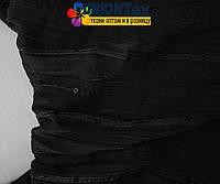 Шифон плиссированный с вышивкой черный