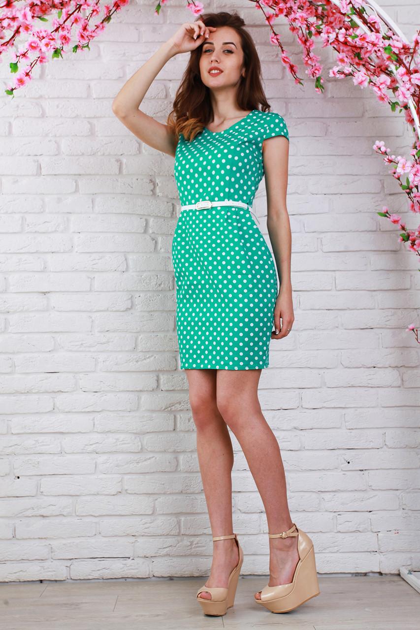 f5415f2bf8d Красивое летнее платье бирюзового цвета в белый горошек - Оптово-розничный  магазин одежды
