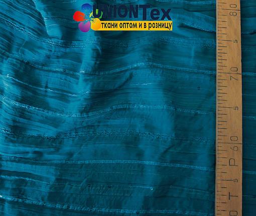Шифон плиссированный с вышивкой голубая бирюза, фото 2